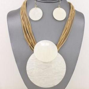 Jewelry - White Tortoise Dome Pendant Necklace
